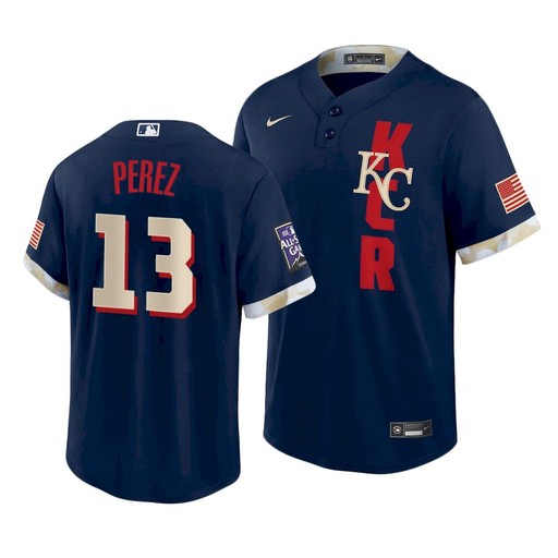 Men's Kansas City Royals #13 Salvador Perez 2021 Navy All-Star Cool Base Stitched MLB Jersey