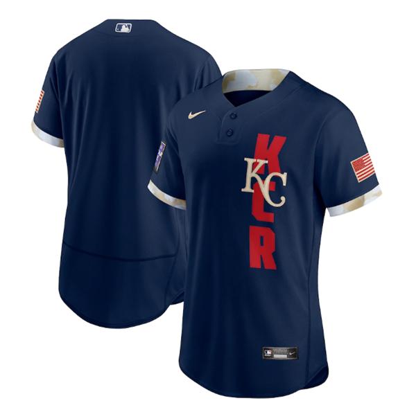 Men's Kansas City Royals Blank 2021 Navy All-Star Flex Base Stitched MLB Jersey