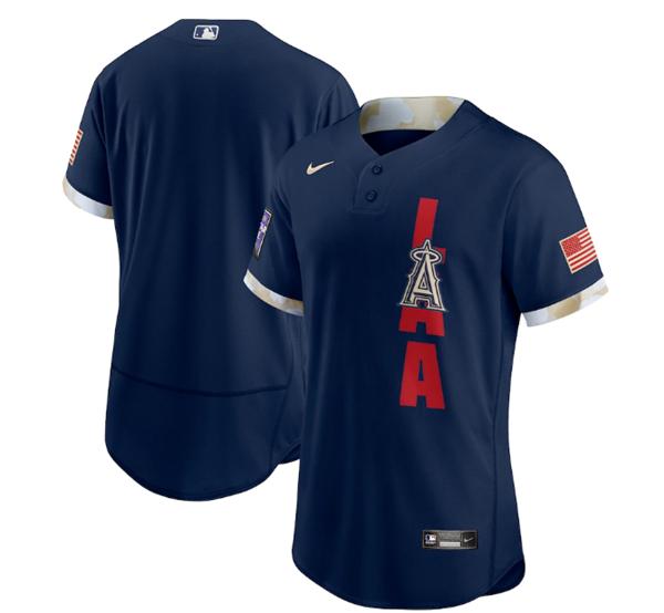 Men's Los Angeles Angels Blank 2021 Navy All-Star Flex Base Stitched MLB Jersey