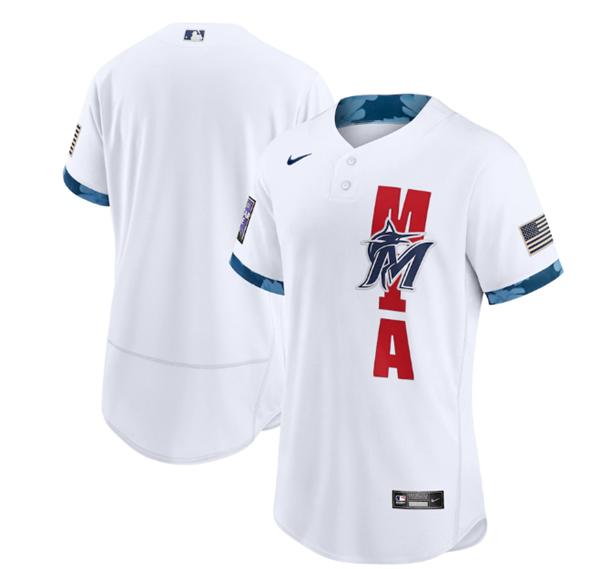 Men's Miami Marlins Blank 2021 White All-Star Flex Base Stitched MLB Jersey