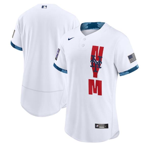 Men's New York Mets Blank 2021 White All-Star Flex Base Stitched MLB Jersey