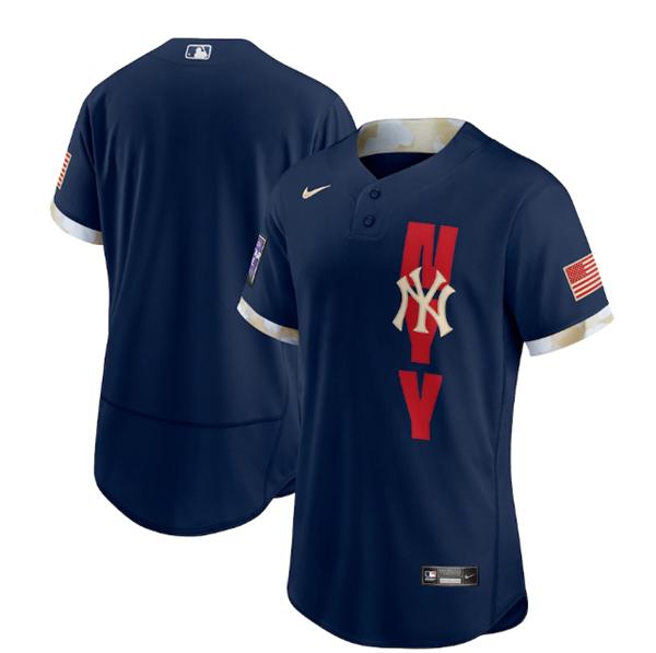 Men's New York Yankees Blank 2021 Navy All-Star Flex Base Stitched MLB Jersey