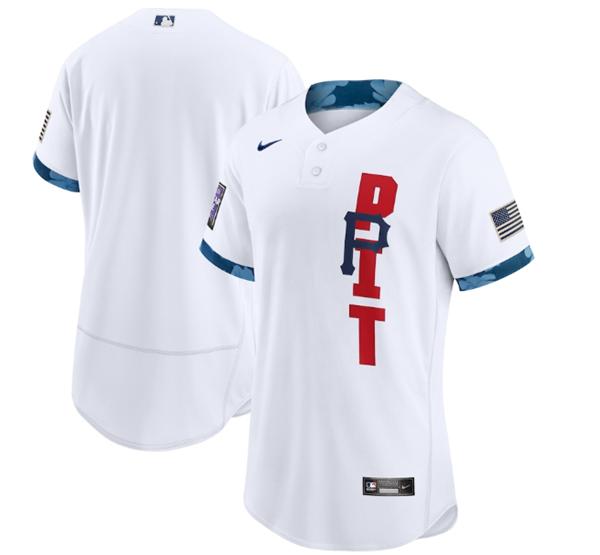 Men's Pittsburgh Pirates Blank 2021 White All-Star Flex Base Stitched MLB Jersey