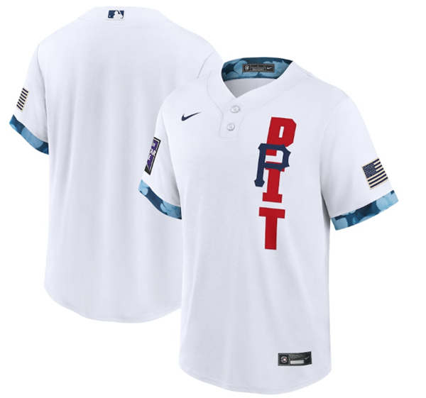 Men's Pittsburgh Pirates Blank 2021 White All-Star Cool Base Stitched MLB Jersey