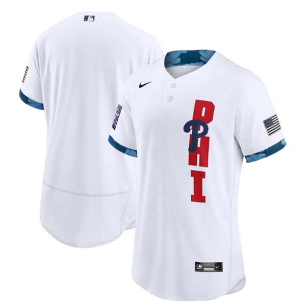 Men's Philadelphia Phillies Blank 2021 White All-Star Flex Base Stitched MLB Jersey