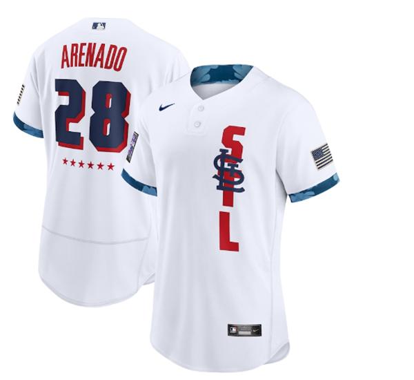 Men's St. Louis Cardinals #28 Nolan Arenado 2021 White All-Star Flex Base Stitched MLB Jersey
