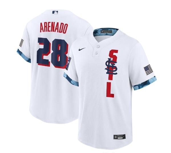 Men's St. Louis Cardinals #28 Nolan Arenado 2021 White All-Star Cool Base Stitched MLB Jersey