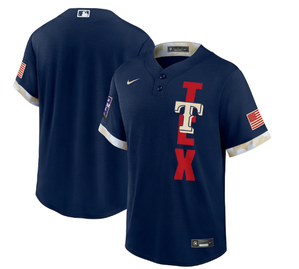 Men's Texas Rangers Blank 2021 Navy All-Star Cool Base Stitched MLB Jersey