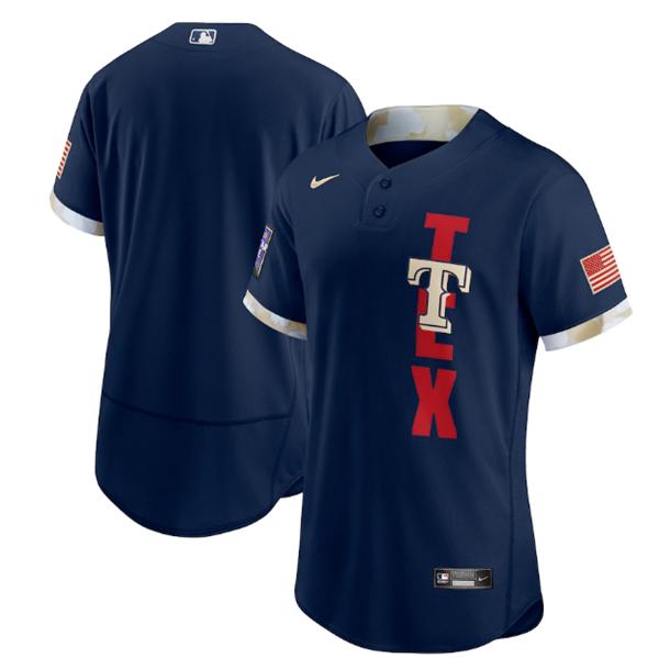 Men's Texas Rangers Blank 2021 Navy All-Star Flex Base Stitched MLB Jersey
