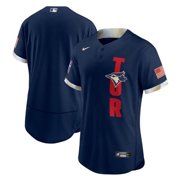 Men's Toronto Blue Jays Blank 2021 Navy All-Star Flex Base Stitched MLB Jersey