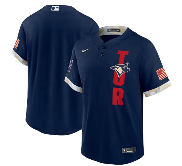 Men's Toronto Blue Jays Blank 2021 Navy All-Star Cool Base Stitched MLB Jersey
