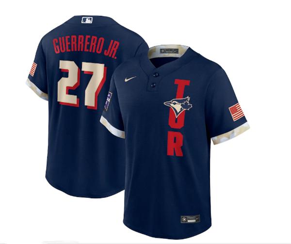 Men's Toronto Blue Jays #27 Vladimir Guerrero Jr. 2021 Navy All-Star Cool Base Stitched MLB Jersey