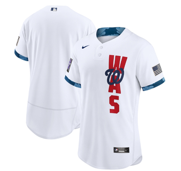 Men's Washington Nationals Blank 2021 White All-Star Flex Base Stitched MLB Jersey