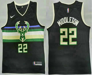 Men's Milwaukee Bucks #20 Khris Middleton Black 2021 Nike Swingman Stitched Jersey