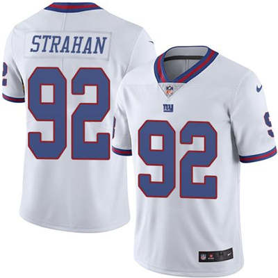 Men's New York Giants #92 Michael Strahan White Color Rush Stitched NFL Nike Limited Jersey