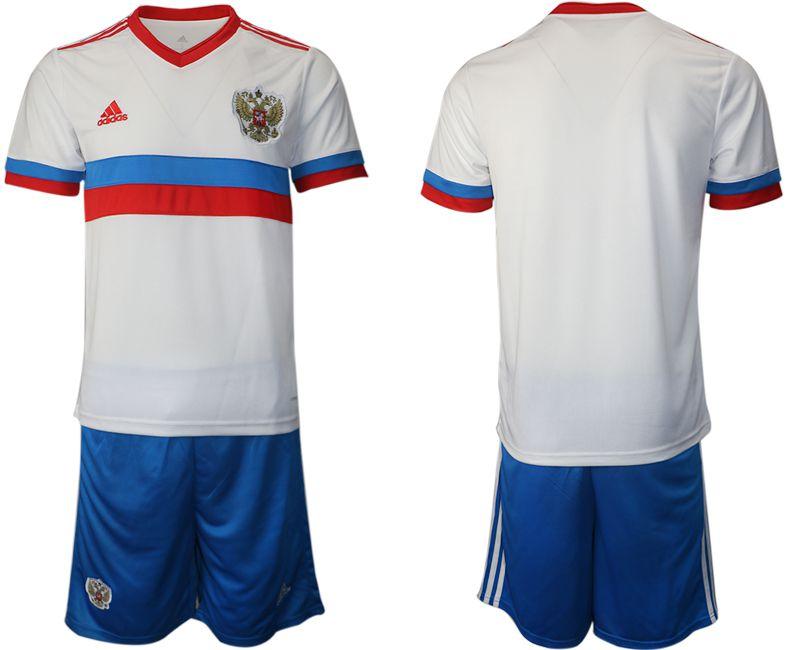 Men 2020-2021 European Cup Russia away white blank Adidas Soccer Jersey