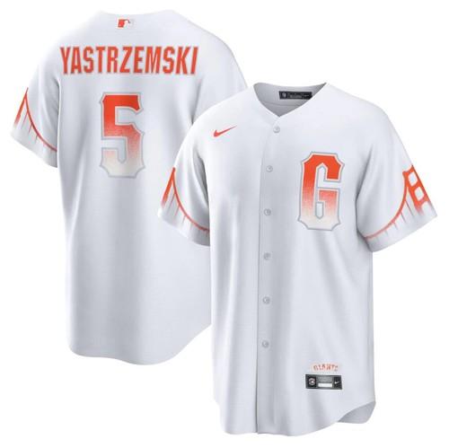Men's Giants #5 Mike Yastrzemski White 2021 City Connect MLB Cool Base Nike Jersey