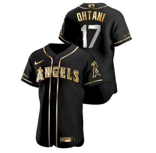 Men's Los Angeles Angels #17 Shohei Ohtani Black Gold Stitched MLB Flex Base Nike Jersey