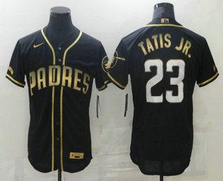 Men's San Diego Padres #23 Fernando Tatis Jr Black 2021 Golden Edition Stitched Flex Base Nike Jersey