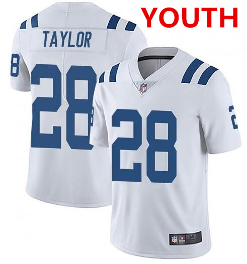 Youth indianapolis colts #28 jonathan taylor white stitched nike jersey