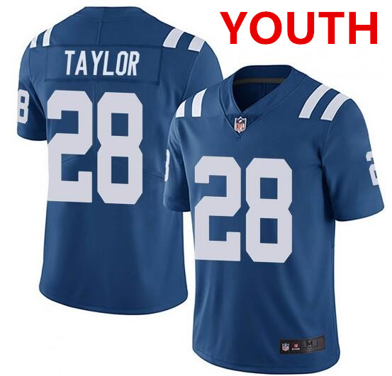 Youth indianapolis colts #28 jonathan taylor blue stitched nike jersey