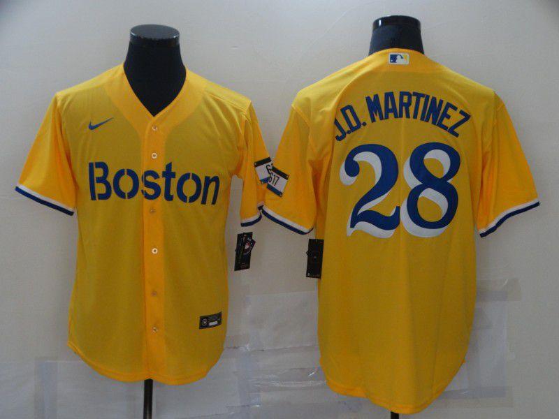 Men Boston Red Sox 28 J.D.Martinez Yellow City Edition Game 2021 Nike MLB Jerseys