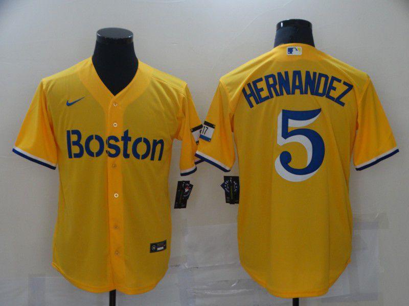 Men Boston Red Sox 5 Hernandez Yellow City Edition Game 2021 Nike MLB Jerseys