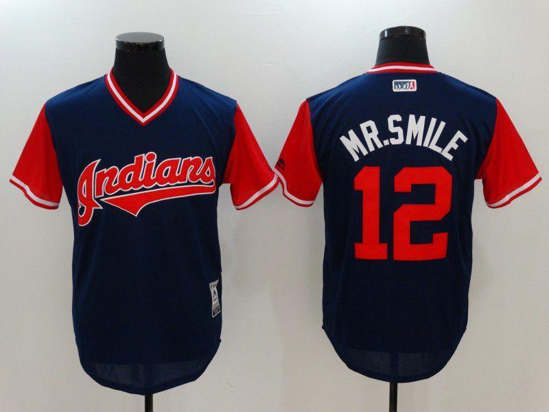 Men Cleveland Indians 12 Mr.smile Blue Game Legend Edition MLB Jersey