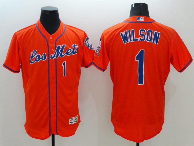 Men New York Mets 1 Wilson Orange Elite 2021 MLB Jerseys