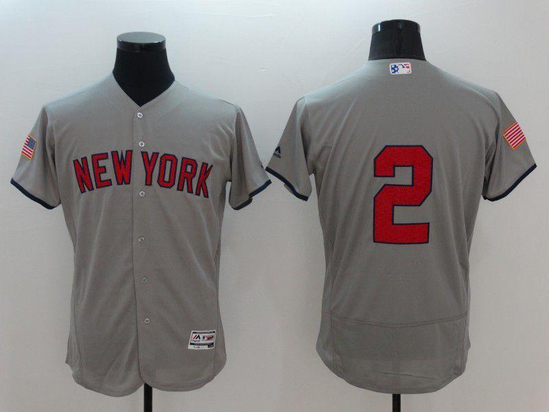 Men New York Yankees 2 No name Grey Elite Independent Edition 2021 MLB Jerseys