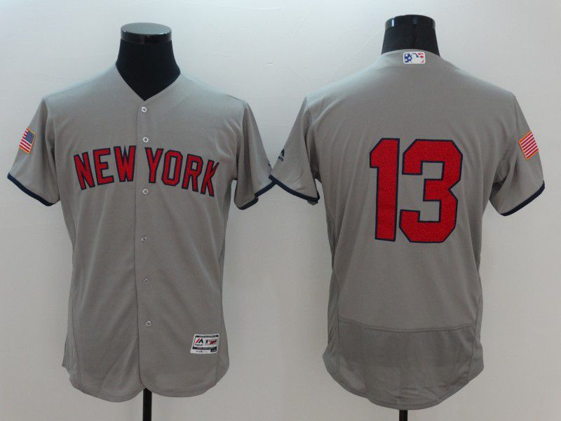 Men New York Yankees 13 No name Grey Elite Independent Edition 2021 MLB Jerseys