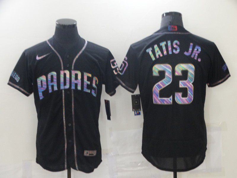 Men San Diego Padres 23 Tatis jr Black Colorful Edition Elite 2021 Nike MLB Jersey