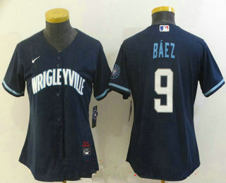 women's chicago cubs #9 javier baez navy blue 2021 city connect stitched mlb cool base nike jersey