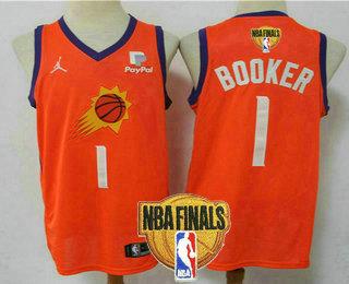 Men's Phoenix Suns #1 Devin Booker NEW Orange 2021 Finals Patch Brand Jordan Swingman Stitched NBA Jersey