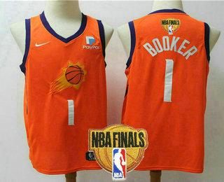 Men's Phoenix Suns #1 Devin Booker NEW Orange 2021 Finals Patch Nike Swingman Stitched NBA Jersey