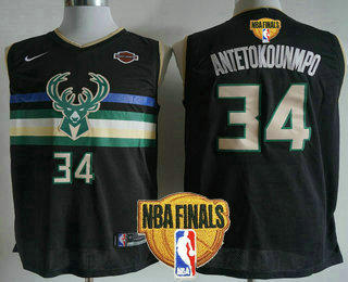 Men's Milwaukee Bucks #34 Giannis Antetokounmpo Black 2021 Finals Patch City Edition NBA Swingman Jersey