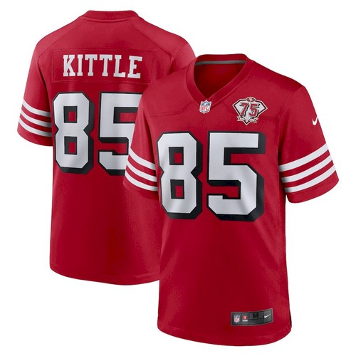 Men's San Francisco 49ers #85 George Kittle Scarlet 75th Anniversary Game Nike Jersey