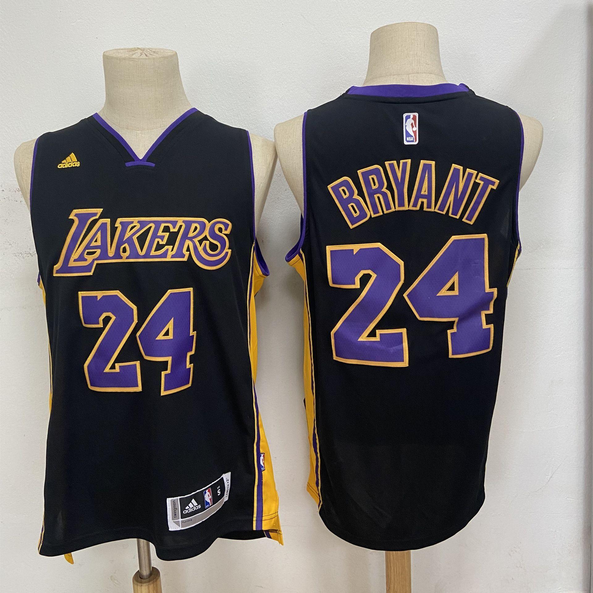 Los Angeles Lakers #24 Kobe Bryant Revolution 30 Swingman New Black With Purple Adidas Jersey