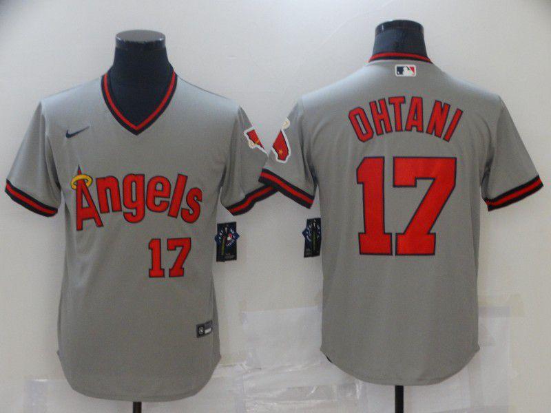 Men Los Angeles Angels 17 Ohtani Grey Game Throwback 2021 Nike MLB Jersey