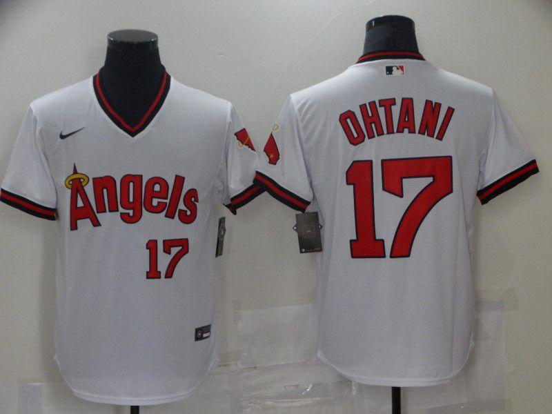 Men Los Angeles Angels 17 Ohtani White Game Throwback 2021 Nike MLB Jersey