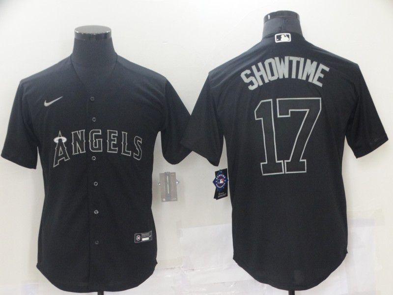 Men Los Angeles Angels 17 Ohtani Black nickname 2021 Nike MLB Jersey