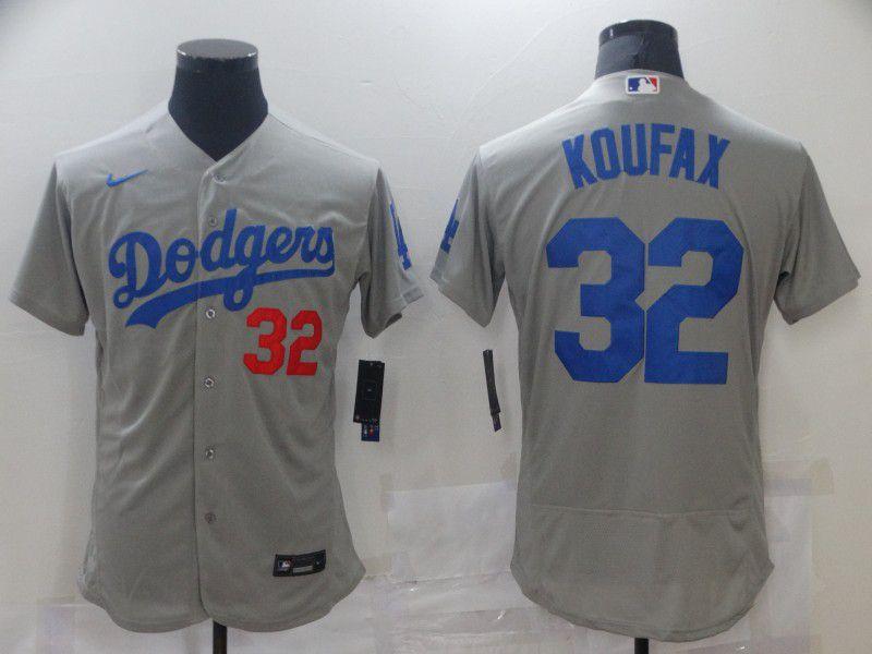 Men Los Angeles Dodgers 32 Koufax Grey Elite 2021 Nike MLB Jersey
