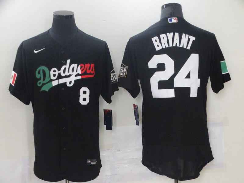 Men's Los Angeles Dodgers #8 #24 Kobe Bryant Black Mexico 2020 World Series Flex Base Nike Jersey