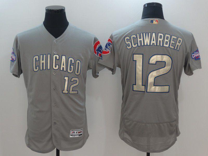 Men Chicago Cubs 12 Schwarber Grey Champion gold character Elite 2021 MLB Jerseys