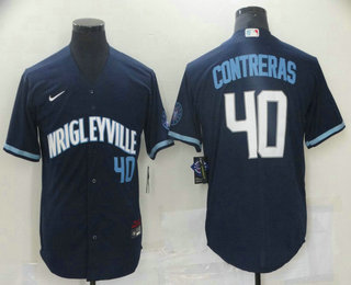 Men's Chicago Cubs #40 Willson Contreras Navy Blue With Number 2021 City Connect Stitched MLB Cool Base Nike Jersey
