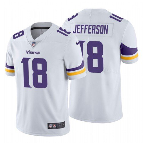 Men's Minnesota Vikings #18 Justin Jefferson 2020 White Vapor Untouchable Nike Limited Jersey
