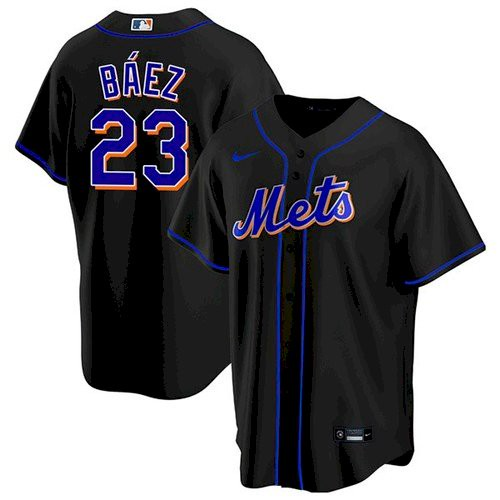 Men's New York Mets #23 Javier Baez Black Replica Nike Jersey
