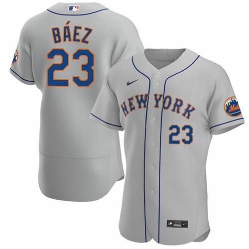 Men's New York Mets #23 Javier Baez Gray Anthentic Nike Jersey