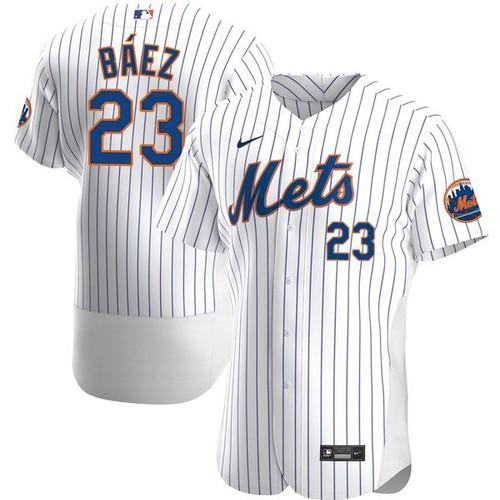 Men's New York Mets #23 Javier Baez White Anthentic Nike Jersey