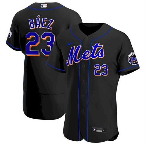 Men's New York Mets #23 Javier Baez Black Anthentic Nike Jersey
